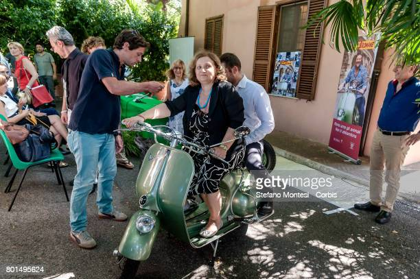 Pinuccia Montanari Counselor for Environmental Sustainability of Rome Capital with the original wasp scooter used for the movie 'Romane Holidays'...