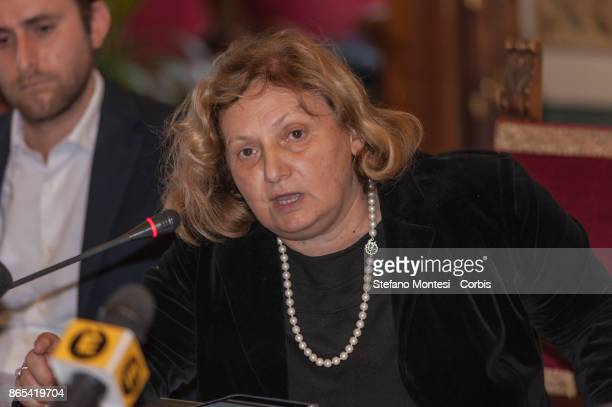 Pinuccia Montanari Counselor for Environmental Sustainability of Rome Capital during meet in Campidoglio for the 'Zero Waste' objective with the...