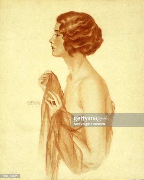 Pinup art by Alberto Vargas of actress Lucille Adair circa 1927