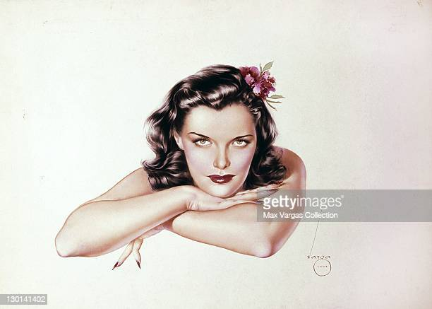 Pinup art by Alberto Vargas titled Brunette with Red Flower circa 1942