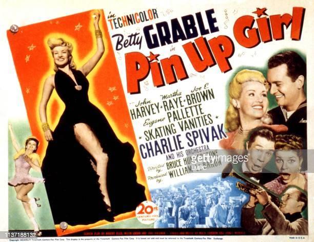 Pinup Girl lobbycard Betty Grable John Harvey Joe E Brown Martha Raye Charlie Spivak 1944