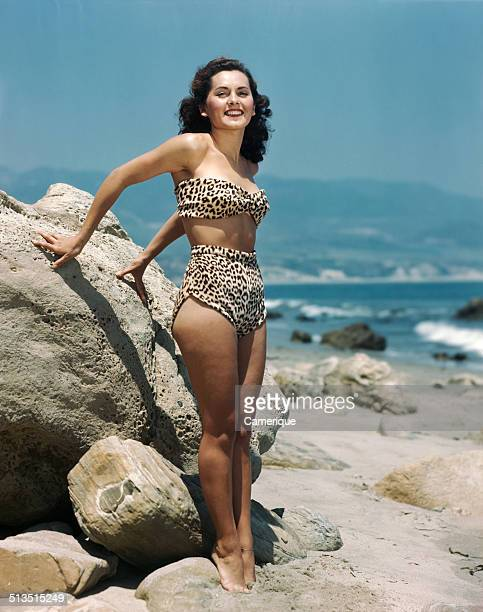 Pinup girl on the beach Los Angeles California 1949