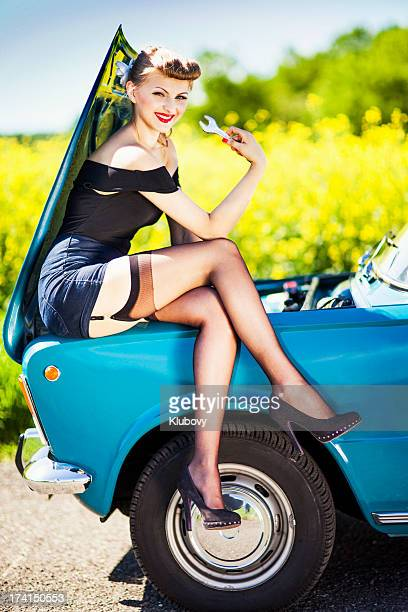 Pin-up girl with car