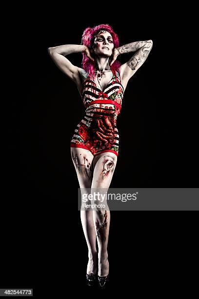 pin-up girl zombie in retro swimsuit - human intestine stock photos and pictures