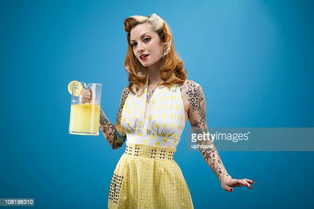 pinup lemonade series - pin up girl stock pictures, royalty-free photos & images