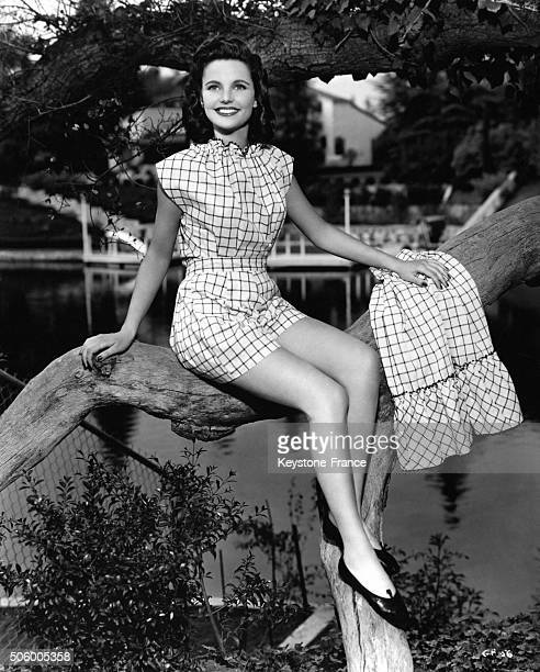 PinUp posing on a trunk in front of a lake in the United States on July 16 1947
