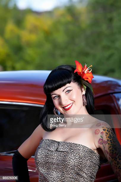 pinup stlye hot rod shoot - hot glamour models stock pictures, royalty-free photos & images