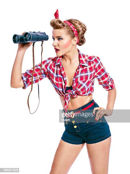 pin-up style woman with binoculars - hot glamour models stock pictures, royalty-free photos & images