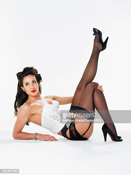 Pinup wearing bustier and pantyhose