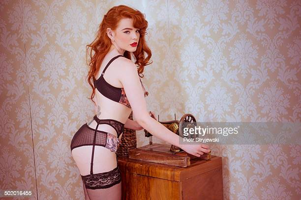 pinup woman - vintage stockings stock photos and pictures