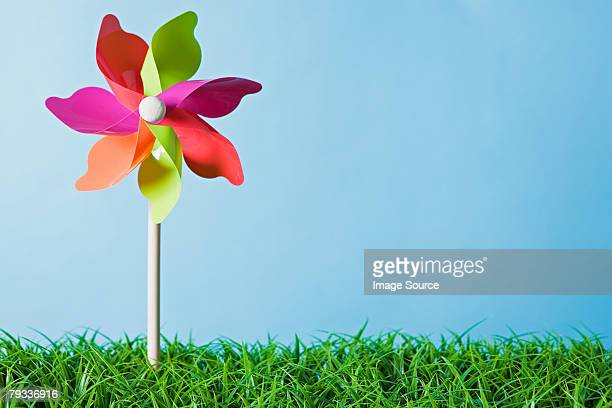a pinwheel - paper windmill stock photos and pictures