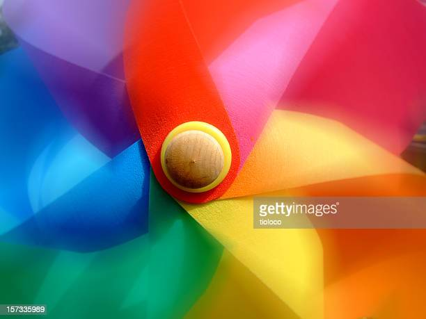 pinwheel spin - paper windmill stock photos and pictures