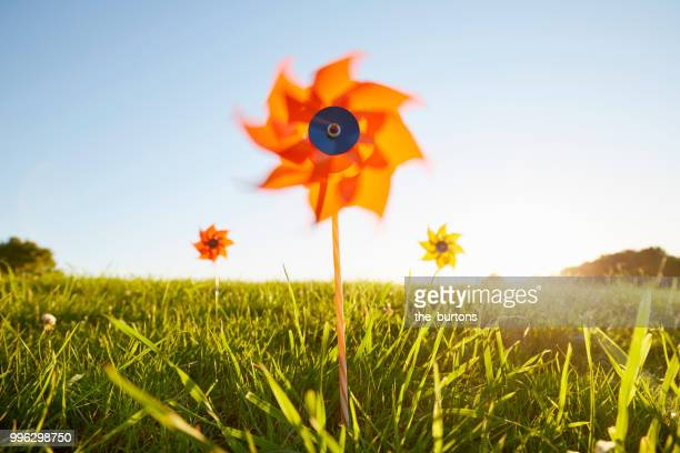 pinwheels on meadow against sky - klima stock-fotos und bilder