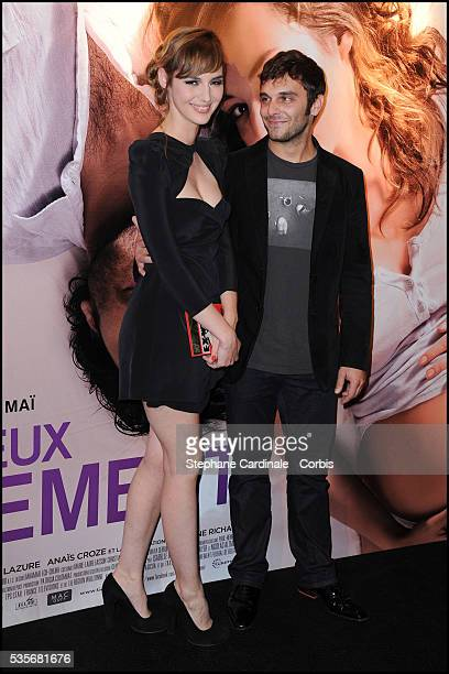 """Pio Marmai and Louise Bourgoin attend the premiere of """"Un Heureux Evenement"""" in Paris."""