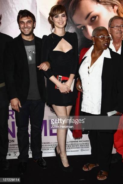 Pio Marmai, Louise Bourgoin and Firmine Richard attend 'Un Heureux Evenement' Paris premiere at UGC Cine Cite Bercy on September 26, 2011 in Paris,...