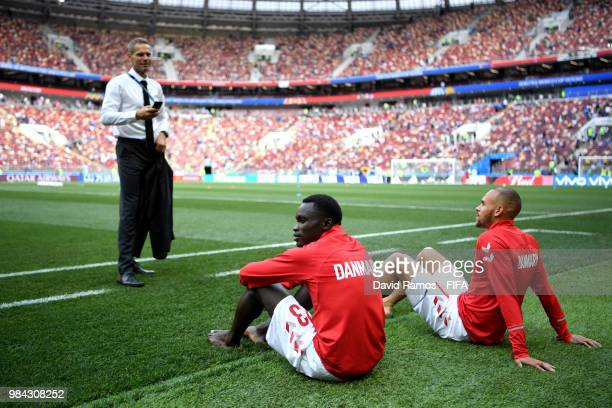 Pione Sisto and Mathias Jorgensen of Denmark look on prior to the 2018 FIFA World Cup Russia group C match between Denmark and France at Luzhniki...