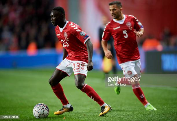 Pione Sisto and Riza Durmisi of Denmark in action during the FIFA World Cup 2018 qualifier match between Denmark and Romania at Telia Parken Stadium...