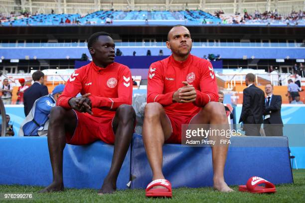 Pione Sisto of Denmark and Martin Braithwaite of Denmark look on during the pitch inspection prior to the 2018 FIFA World Cup Russia group C match...