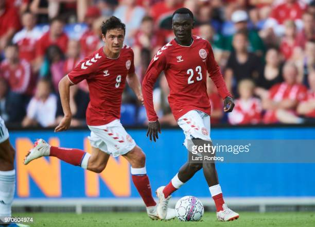 Pione Sisto of Denmark and Thomas Delaney of Denmark in action during the international friendly match between Denmark and Mexico at Brondby Stadion...