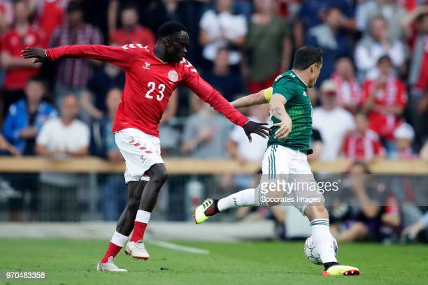 Pione Sisto of Denmark Andres Guardado of Mexico during the International Friendly match between Denmark v Mexico at the Brondby Stadium on June 9...