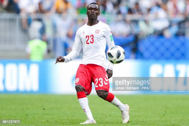 Pione Sisto of Denmark controls the ball during the 2018 FIFA World Cup Russia group C match between Denmark and Australia at Samara Arena on June 21...