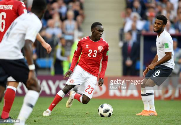 Pione Sisto of Denmark controls the ball during the 2018 FIFA World Cup Russia group C match between Denmark and France at Luzhniki Stadium on June...