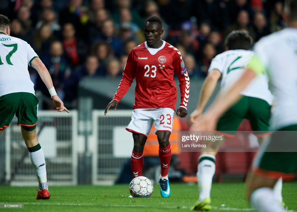 Pione Sisto of Denmark controls the ball during the FIFA 2018 World Cup Qualifier Play-Off First Leg match between Denmark and Republic of Ireland at Telia Parken Stadium on November 5, 2017 in Copenhagen, Denmark.