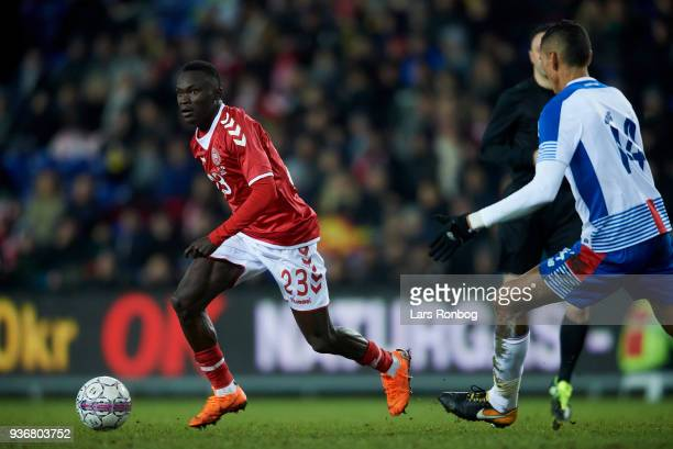 Pione Sisto of Denmark controls the ball during the International friendly match between Denmark and Panama at Brondby Stadion on March 22 2018 in...