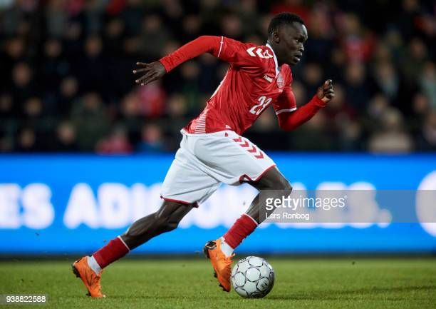 Pione Sisto of Denmark controls the ball during the International friendly match between Denmark and Chile at Aalborg Stadion on March 27 2018 in...