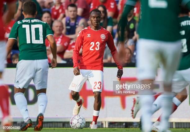 Pione Sisto of Denmark controls the ball during the international friendly match between Denmark and Mexico at Brondby Stadion on June 9 2018 in...