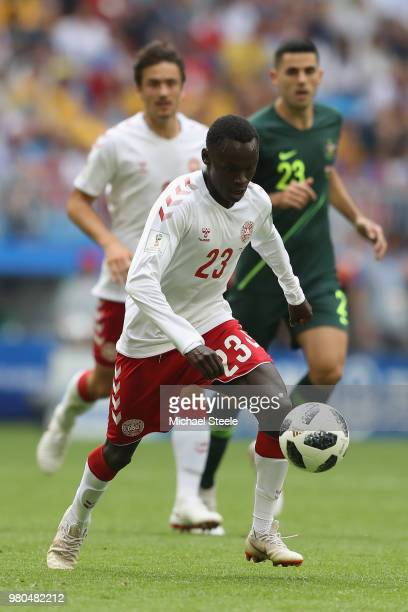 Pione Sisto of Denmark during the 2018 FIFA World Cup Russia group C match between Denmark and Australia at Samara Arena on June 21 2018 in Samara...