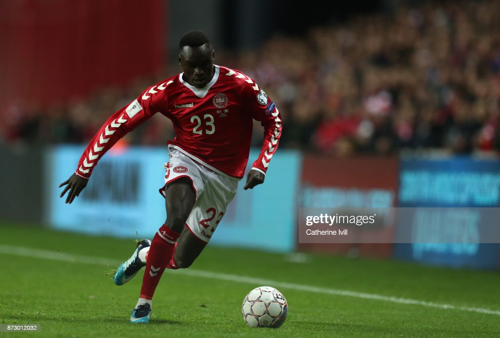 Pione Sisto of Denmark during the FIFA 2018 World Cup Qualifier Play-Off: First Leg between Denmark and Republic of Ireland at Telia Parken on November 11, 2017 in Copenhagen, Denmark.