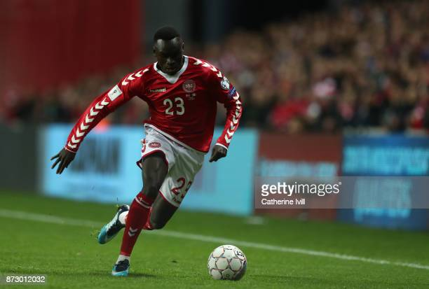 Pione Sisto of Denmark during the FIFA 2018 World Cup Qualifier PlayOff First Leg between Denmark and Republic of Ireland at Telia Parken on November...
