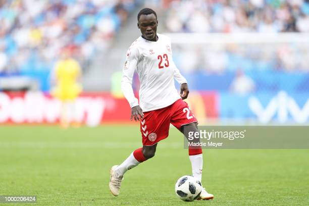 June 21: Pione Sisto of Denmark in action during the 2018 FIFA World Cup Russia group C match between Denmark and Australia at Samara Arena on June...