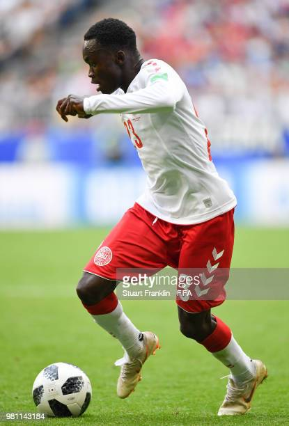 Pione Sisto of Denmark in action during the 2018 FIFA World Cup Russia group C match between Denmark and Australia at Samara Arena on June 21 2018 in...
