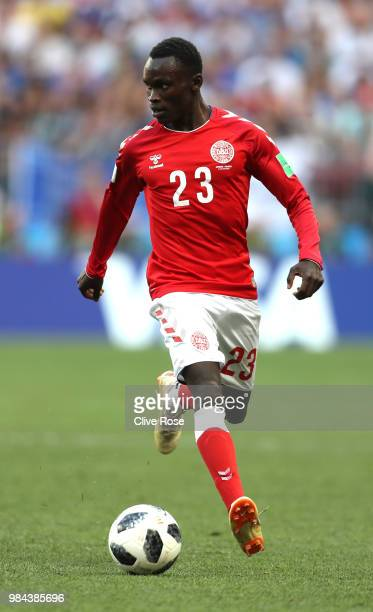 Pione Sisto of Denmark in action during the 2018 FIFA World Cup Russia group C match between Denmark and France at Luzhniki Stadium on June 26 2018...