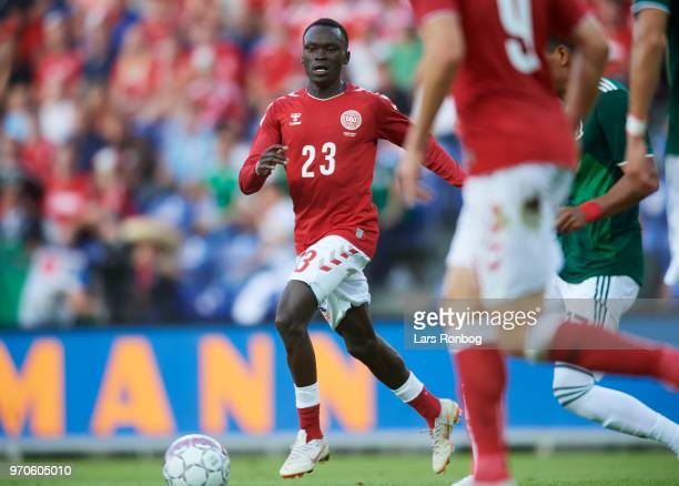 Pione Sisto of Denmark in action during the international friendly match between Denmark and Mexico at Brondby Stadion on June 9 2018 in Brondby...