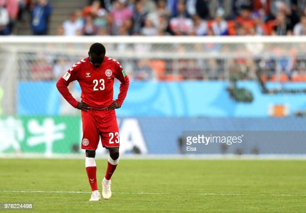 Pione Sisto of Denmark looks on during the 2018 FIFA World Cup Russia group C match between Peru and Denmark at Mordovia Arena on June 16 2018 in...