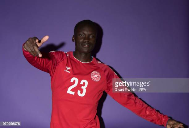 Pione Sisto of Denmark poses for a picture during the official FIFA World Cup 2018 portrait session at on June 12 2018 in Anapa Russia