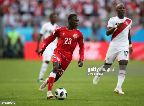 Pione Sisto of Denmark runs with the ball during the 2018 FIFA World Cup Russia group C match between Peru and Denmark at Mordovia Arena on June 16...