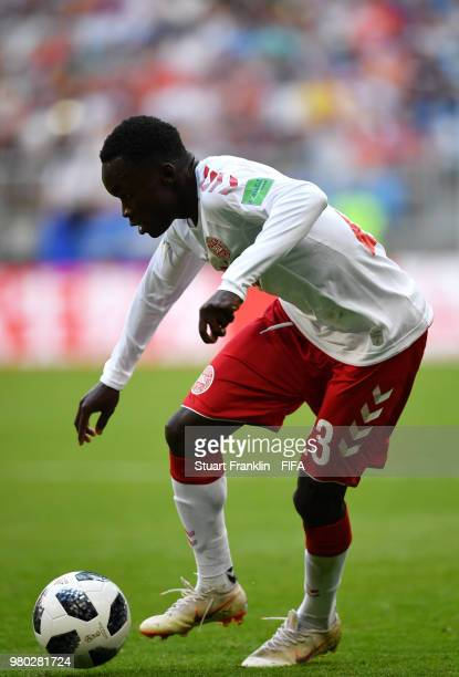 Pione Sisto of Denmark runs with the ball during the 2018 FIFA World Cup Russia group C match between Denmark and Australia at Samara Arena on June...