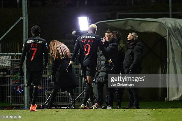 Pione Sisto of FC Midtjylland and Sory Kaba of FC Midtjylland walk off the pitch dejected after the Danish 3F Superliga match between Lyngby BK and...