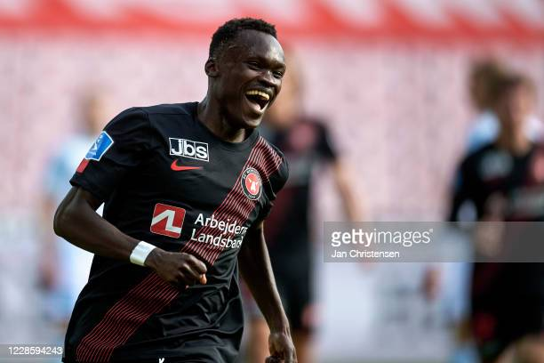 Pione Sisto of FC Midtjylland celebrate after his 1-0 goal during the Danish 3F Superliga match between FC Midtjylland and Lyngby BK at MCH Arena on...