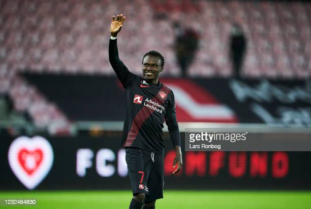 Pione Sisto of FC Midtjylland celebrates after the Danish 3F Superliga match between FC Midtjylland and FC Copenhagen at MCH Arena on April 22, 2021...