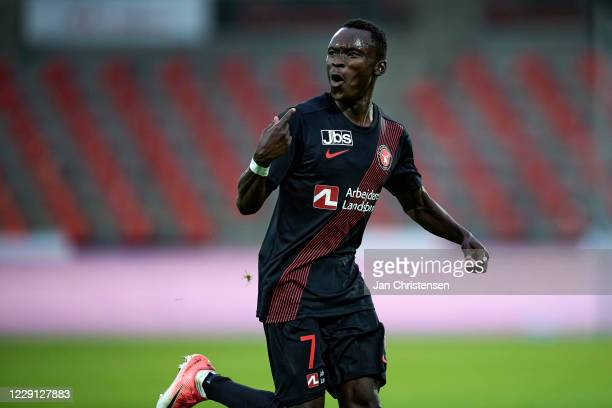 Pione Sisto of FC Midtjylland celebrating his 3-1 goal during the Danish 3F Superliga match between FC Midtjylland and OB Odense at MCH Arena on...