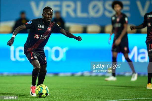 Pione Sisto of FC Midtjylland in action during the Danish 3F Superliga match between FC Nordsjalland and FC Midtjylland at Right to Dream Park on...
