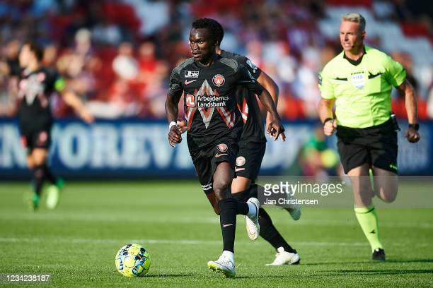 Pione Sisto of FC Midtjylland in action during the Danish 3F Superliga match between AaB Aalborg and FC Midtjylland at Aalborg Portland Park on July...