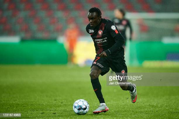 Pione Sisto of FC Midtjylland in action during the Danish Cup Sydbankpokalen match between FC Midtjylland and OB Odense at MCH Arena on March 10,...
