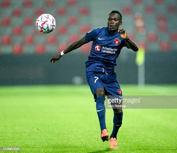 Pione Sisto of FC Midtjylland in action during the UEFA Champions League Playoff 2nd Leg match between FC Midtjylland and Slavia Prague at MCH Arena...