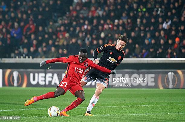 Pione Sisto of FC Midtjylland scores the 11 goal during the UEFA Europa League match between FC Midtjylland and Manchester United at MCH Arena on...
